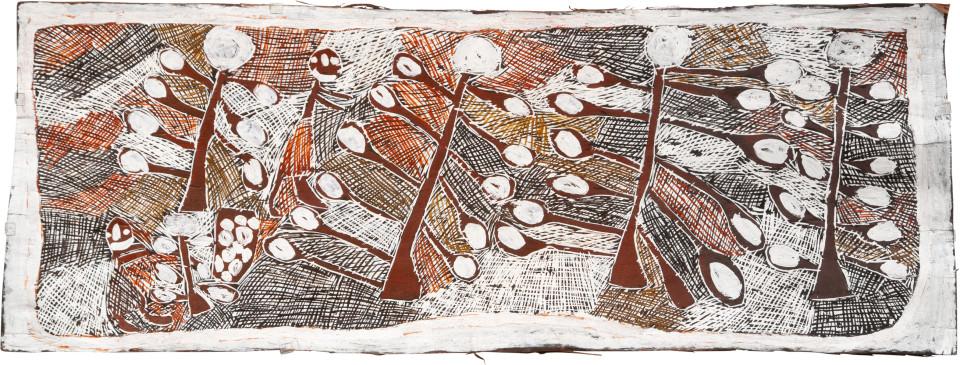 Nyapanyapa Yunupingu 2. Picking Wild Apples, 2008; Natural earth pigments on bark 3424K; 50 x 136 cm; enquire