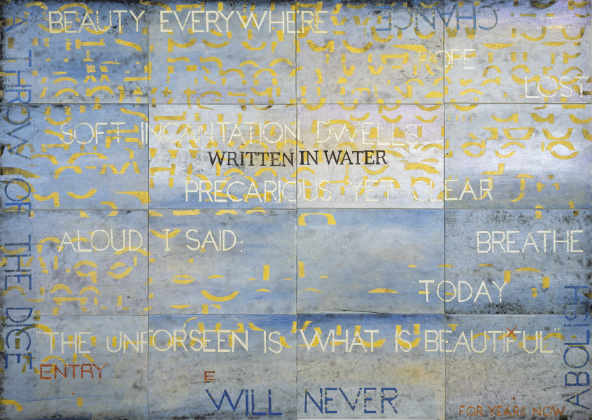 Imants Tillers Nature Speaks: EX, 2014; from the series Sung into Being; acrylic, gouache on 16 canvas boards, nos. 93541 - 93556; 100 x 141 cm; Enquire