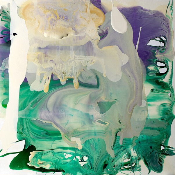 Dale Frank Her Italian was undecipherable, in translatable, 2009; varnish on canvas; 200 x 200 cm; enquire