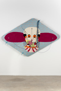 installation view; Claire Healy and Sean Cordeiro Fukusuke, 2020; Kiowa helicopter fuselage doors, acrylic gouache, polyester line; 140 x 210 x 20 cm; enquire