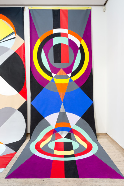 Mikala Dwyer Backdrop for Base Matter, 2016; acrylic on canvas; 600 x 220 cm; enquire