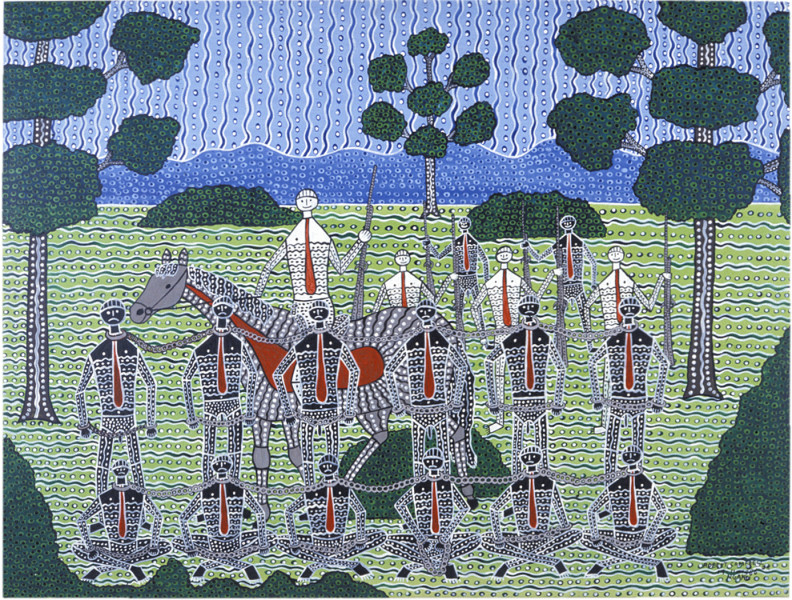 Robert Campbell Jnr Chained Aboriginals, 1987; acrylic on canvas; 91 x 120 cm; enquire