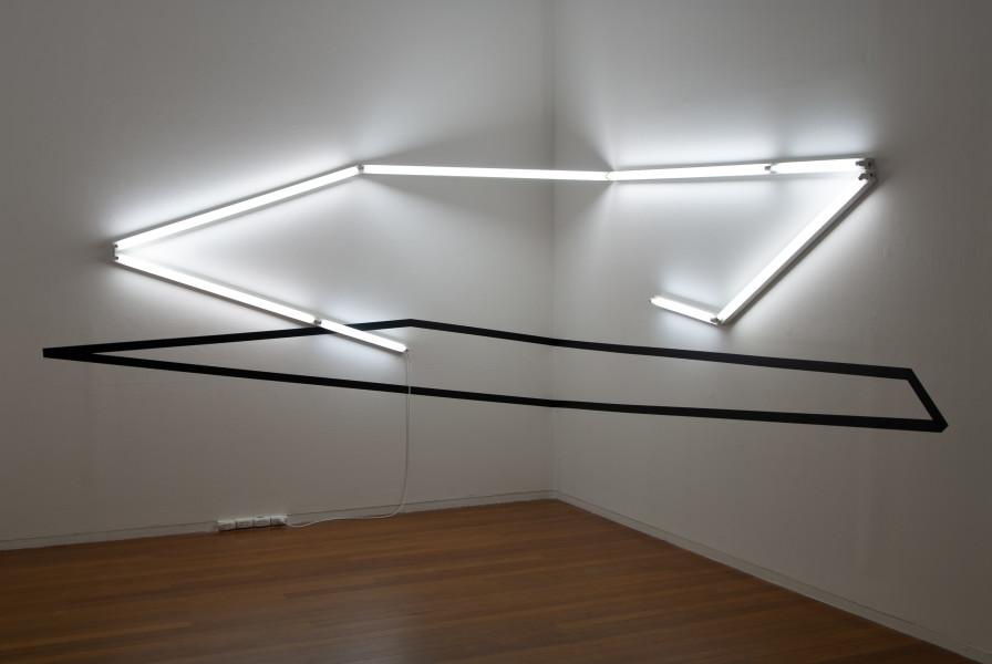 Bill Culbert Right-angle (black and light), 2006; vinyl and fluorescent lights; 220 x 320 x 340 cm (light fittings 8 cm deep); enquire