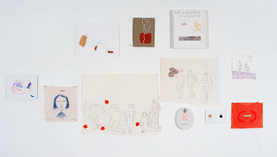 Angela Brennan Left to Right: Surprise, Hey There, Nude, String Ensemble, Not a very free associator, 5 people, 3 people, The absence of proof is not proof of absence, On the other hand, 2 people, In parentheses, 1994; oil and collage on canvas board, oil and collage on unprimed canvas, pencil and collage on paper, tissue paper and string on cardboard, oil and stamps on canvas, pencil and collage on paper, oil and collage on canvas board, buttons and paper on canvas boa; dimensions variable; enquire