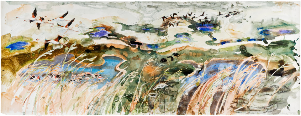 John Wolseley A Natural History of Swamps I, Great Reed Warbler - Camargue, 2009-10; watercolour on paper; 114 x 300 cm; 140 x 325 cm (framed); enquire