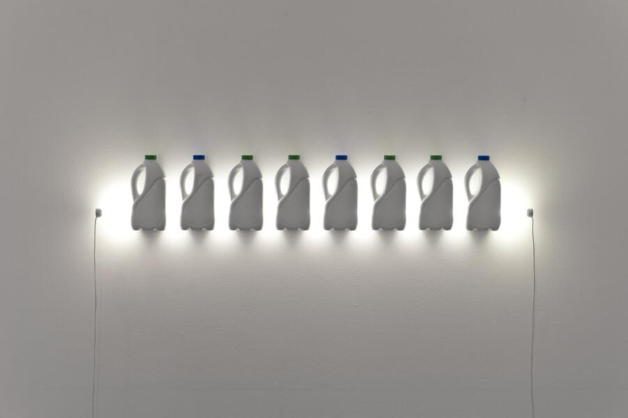 Bill Culbert Strait, 2013; fluorescent light, electric wire, plastic bottles; 26 x 152.5 x 9 cm; enquire