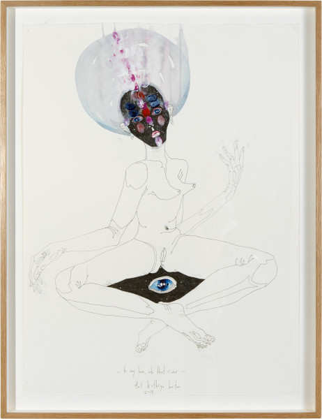 Del Kathryn Barton to say lessinto that river, 2013; ink, watercolour and synthetic polymer paint on 600gm hot pressed watercolour paper; 85 × 64cm (framed); enquire