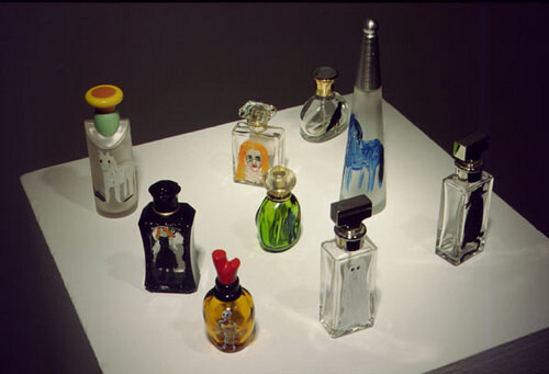 Jenny Watson Perfume, 2001; oil paint, perfume bottles; dimensions variable Set of 9; enquire