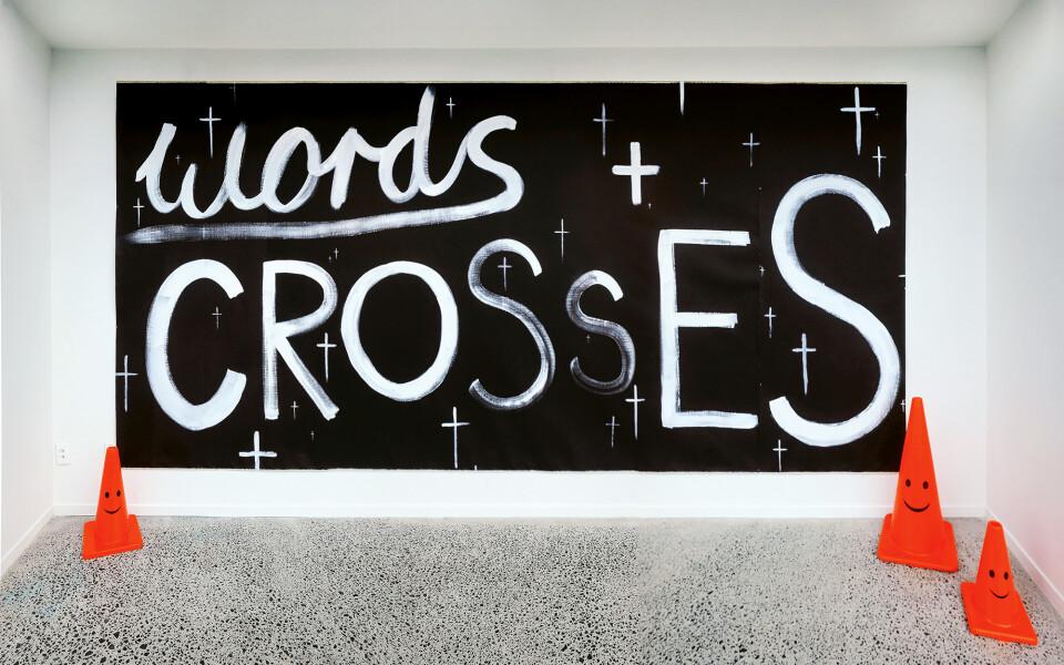 Nell WORDS + CROSSES, 2017; acrylic paint on linen; 216 x 452 cm; enquire