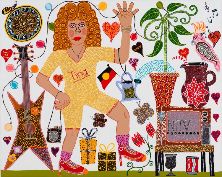 Kaylene Whiskey Tina Time, 2020; Acrylic on linen; 122 x 152 cm; enquire