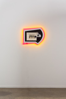 installation view; Brook Andrew This year, cancellation..., 2020; paper, wood, neon, acrylic; 50 x 62 x 8.5 cm; enquire