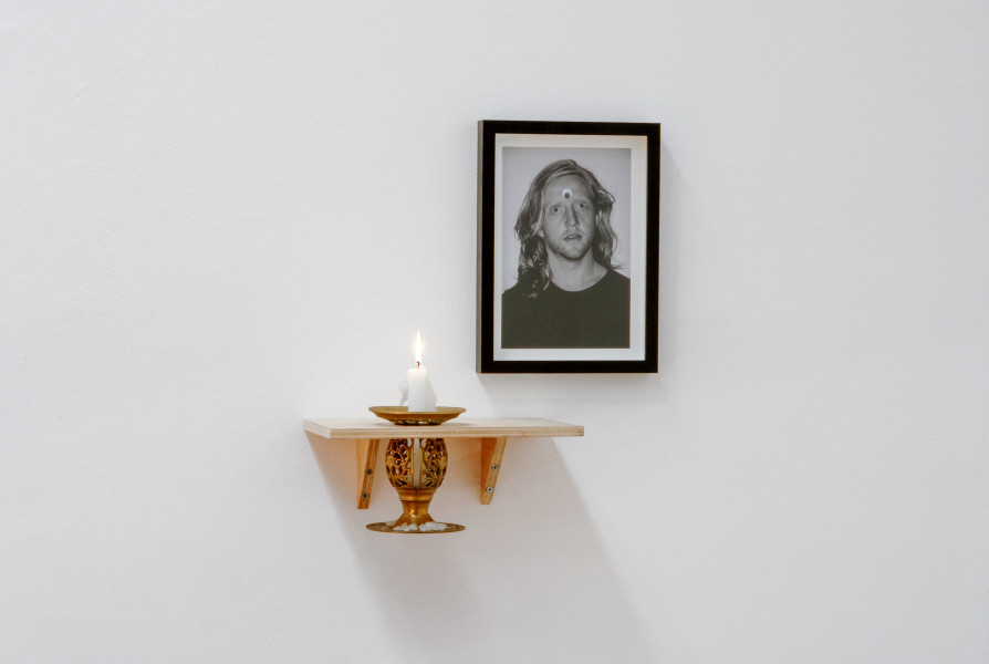 Christopher Hanrahan As Is The Gardener Such Is The Garden (soul man), 2006; plywood, candle, candle-holder, archival digital print and googly eye; 2 pieces: 30 x 20 x 27cm; 31 x 22.5 cm; enquire