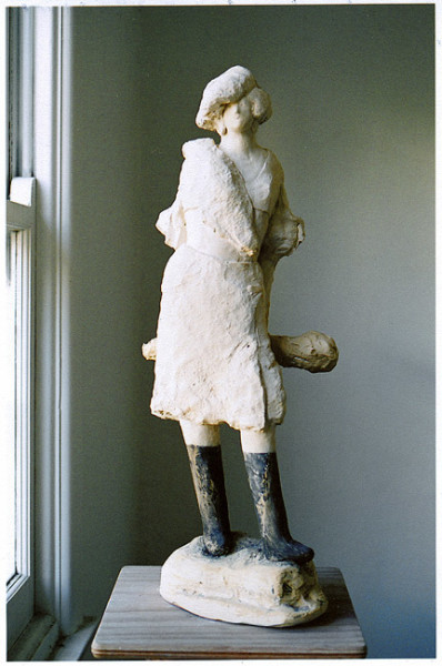 Linda Marrinon Woman with Sillelagh, 2006; tinted plaster; 60 x 30 x 30 cm; enquire