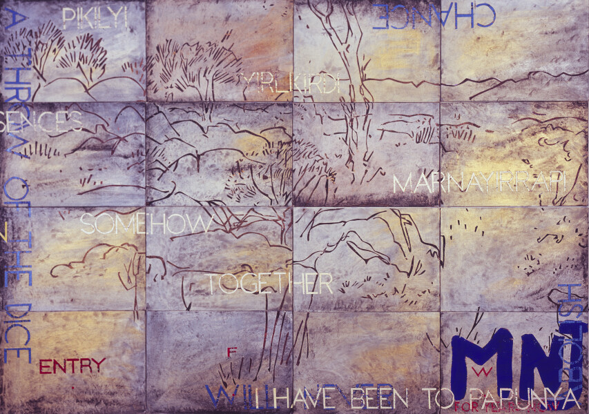 Imants Tillers Nature Speaks: FW, 2017; from the series Sung into Being; acrylic, gouache on 16 canvas boards, no. 102557 - 102572; 100 x 141 cm; enquire