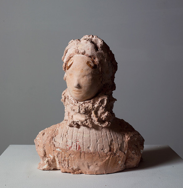 Linda Marrinon Woman with Elizabethan Ruff, 2008; tinted plaster; 33 x 28 x 18 cm; enquire