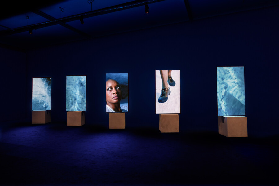Isaac Julien Stones Against Diamonds, 2015; 5 portrait screens with HD playback 5.1 surround sound; Duration: 58 minutes 28 seconds; Edition of 4 + AP 1; enquire