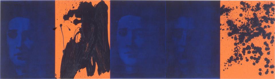 Lindy Lee Astromanic, 1995; photocopy and acrylic on Stonehenge paper; 41 x 143 cm; 5 panels; enquire