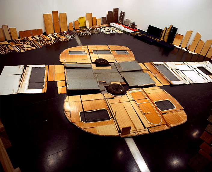 Claire Healy and Sean Cordeiro Wohnwagen (flatpack - Past Times), 2006-07; lambda print from set of six (image of entire deconstructed caravan and euro pallets); set of 6: 29 x 42 cm (each); Enquire