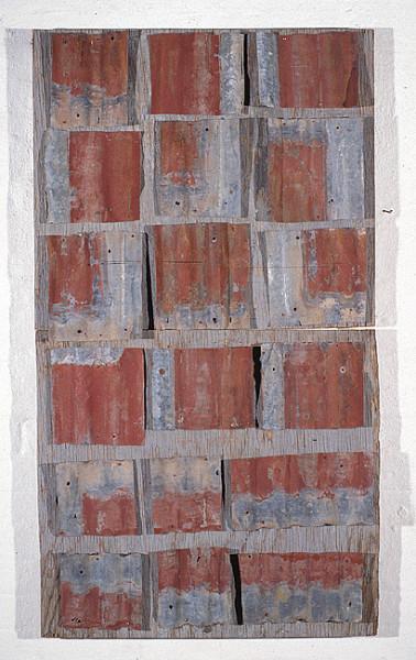 Rosalie Gascoigne Rose Red City #3, 1992-93; corrugated iron on wood; 150 x 84.5 cm; enquire