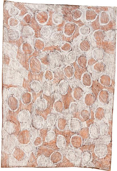 Nyapanyapa Yunupingu 33. Mangutji #7, 2010; Natural earth pigments on bark 3903E; 113 x 78 cm; enquire