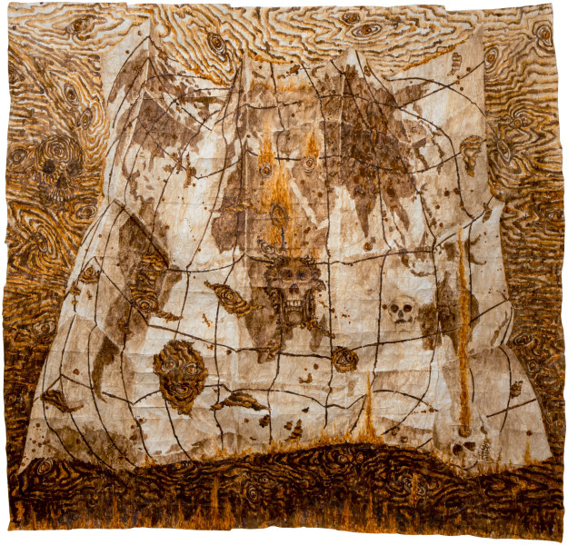 Fiona Hall Take No Prisoners, 2013; bark cloth with earth pigments and plant dyes; 230 x 240 cm; enquire