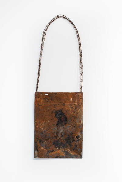 Lorraine Connelly-Northey Narrbong, 2019; CONNL - 0043; burnt steel, barb wire; 190 x 64 x 7 cm; Enquire