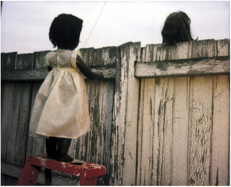 Destiny Deacon Over the fence, 2000; from the series Sad & Bad; Lamda print from Polaroid original; Edition of 15 + 3 APs; enquire