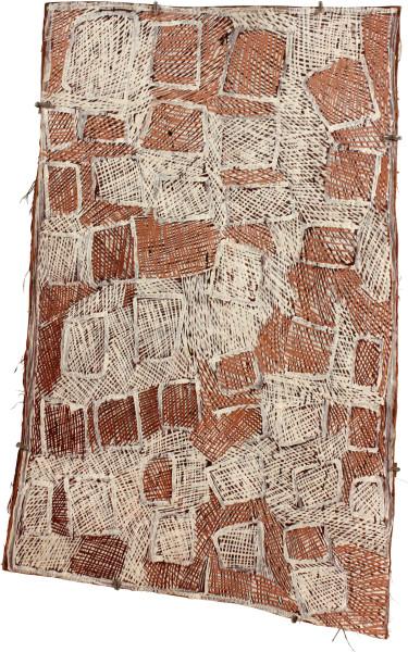 Nyapanyapa Yunupingu Pink and White Boxes, 2011; 3912N; natural earth pigments on bark; 81 x 53 cm; enquire