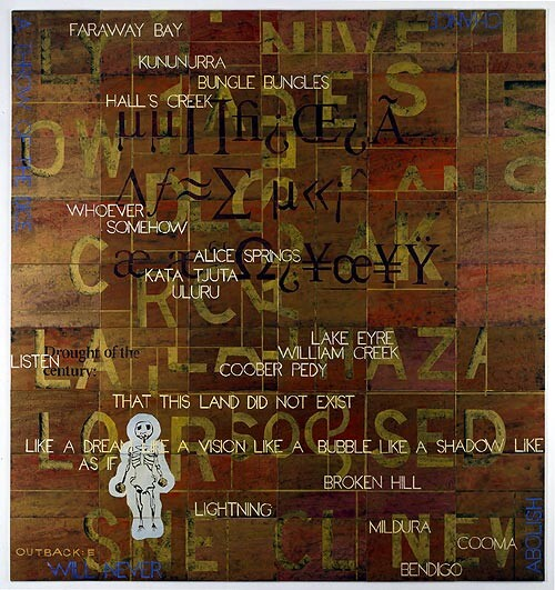 Imants Tillers Outback: E, 2005; synthetic polymer paint, gouache on 54 canvasboards, nos. 76330 - 76383; 228 x 212.5 cm; enquire