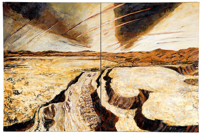 Mandy Martin Wanderers in the desert of the real, 2008; Ochre, pigment, and oil on linen; diptych, overall 180 x 270 cm; enquire
