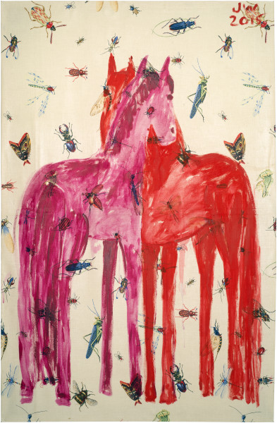 Jenny Watson Mutual grooming, 2015; acrylic on insect pattern cotton; 120.5 x 79.5 cm; enquire