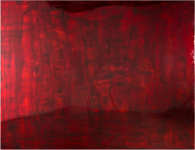 Dale Frank Bangladeshi, 2016; Bluebird blood under Liquid Glass on perspex; 200 x 260 cm; enquire