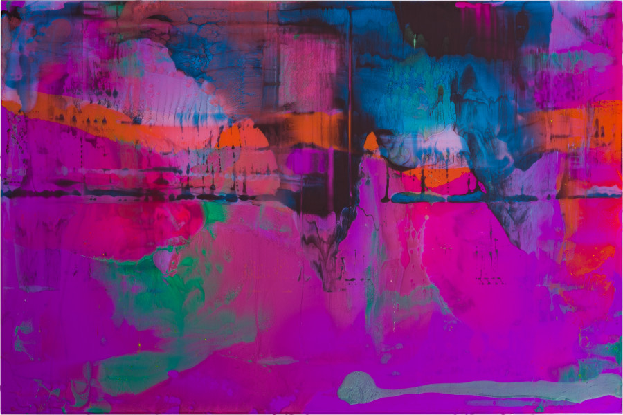 Dale Frank a bottom :) super nervous, 42,  wanting a nice Daddy type, someone who's not worried about having a sub boy I also have a bit of a kinky side I'd like to share, 2020; powder colour pigments in resin, epoxyglass on Perspex; 100 x 150 cm; enquire