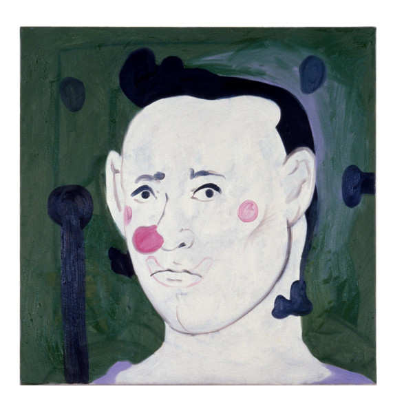 Linda Marrinon Clown With Green Background, 1990; oil on canvas; 71 x 71 cm; enquire