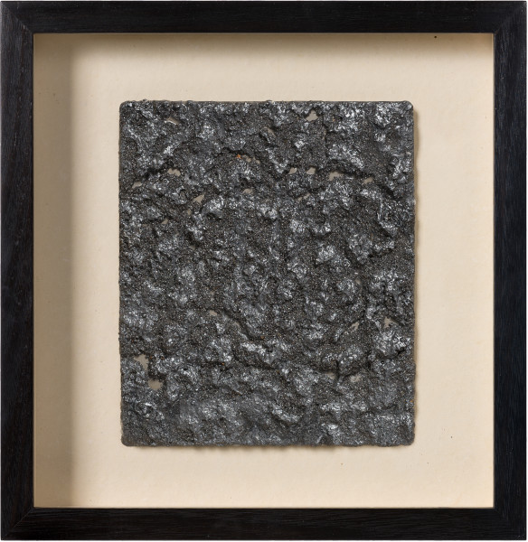 Kirtika Kain pewter, 2019; iron filings, pewter paint, wax, zinc; 40 x 32 cm; Enquire