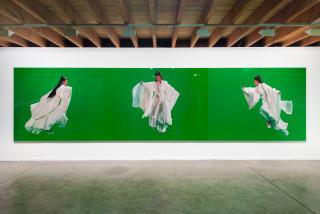 installation view; Isaac Julien Green Screen Goddess Triptych (Ten Thousand Waves), 2010; Endura Ultra photograph; 3 parts: 180 x 240 each (overall dimensions approx. 180 x 720 cm); Edition of 6 + AP 1; enquire