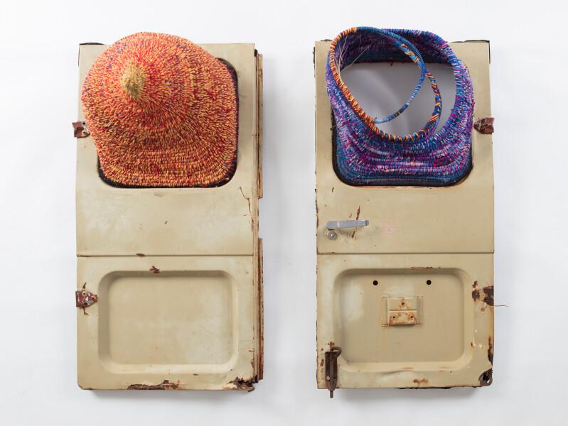 Claire Healy and Sean Cordeiro Jurtupa and Wawal, 2017; wool, Minari grass and car doors; 105 x 111 x 31 cm; enquire