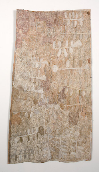Nyapanyapa Yunupingu 5. Untitled, 2013; 4390I; natural earth pigments on bark; 168 x 95 cm; enquire