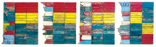 Rosalie Gascoigne Parrot Country, 1980-83; sawn wood on wood; 4 panels  101 x 84 cm (each); enquire