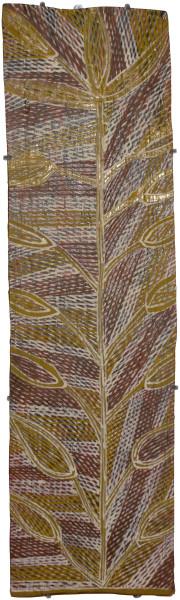 Mulkun Wirrpanda Dha_gi, 2015; 4635BA; Bark painting; 82 x 23 cm; enquire
