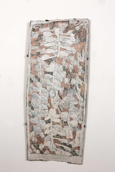 Nyapanyapa Yunupingu 18. Untitled, 2013; 4135O; natural earth pigments on bark; 125 x 52 cm; enquire
