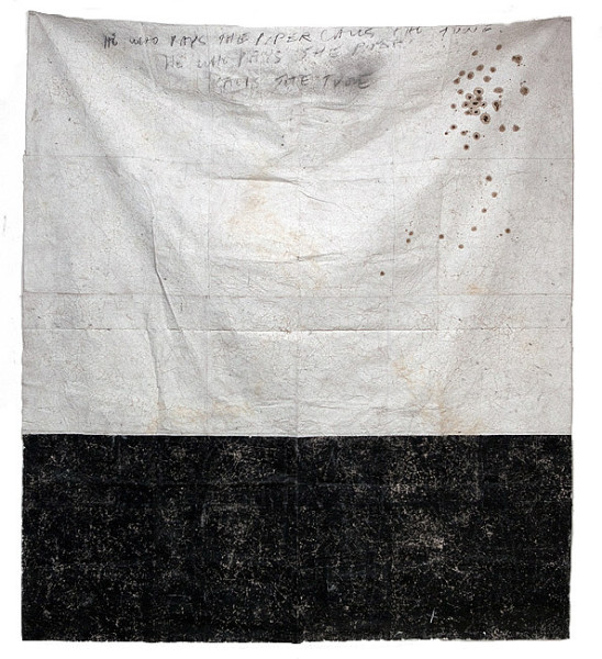 Newell Harry Untitled (He who pays the piper calls the tune), 2009-10; 2 pieces; Black and white gesso, crayon, charcoal on crumpled stitched and ironed paper, wooden vessel (Massim)