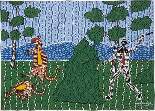 Robert Campbell Jnr Hunting the Kangaroo, 1986; acrylic on cardboard; 65.5 x 91.5 cm; enquire