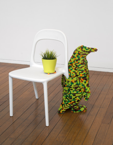 Claire Healy and Sean Cordeiro Upstairs Study – Penguin, 2014; Lego, Ikea chair and plant; 80 x 67 x 62 cm; enquire