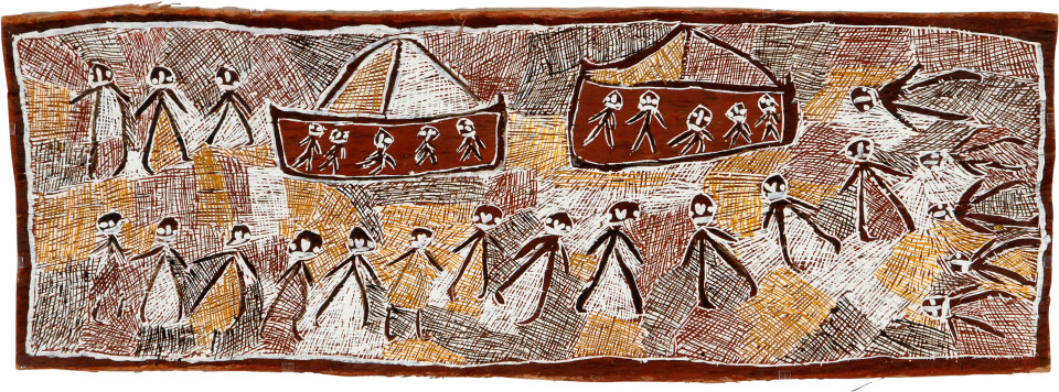 Nyapanyapa Yunupingu Japanese in Port Bradshaw, 2008; natural earth pigments on bark; 55 x 155 cm; enquire