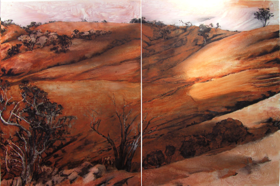 Mandy Martin Home Ground 2, 2004; ochre, pigment and oil on linen; 150 x 300 cm; enquire