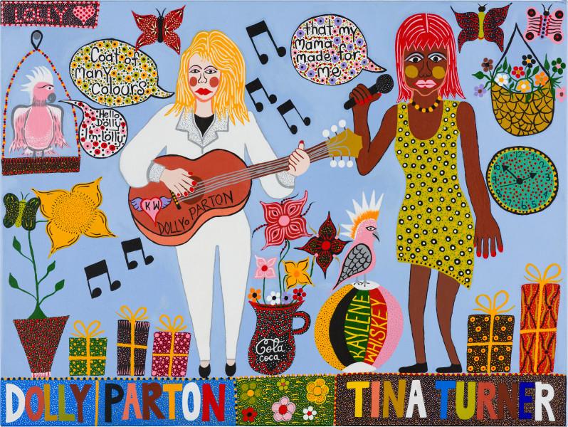 Kaylene Whiskey Dolly Parton and Tina Turner, 2019; acrylic on linen; 91 x 122 cm; enquire