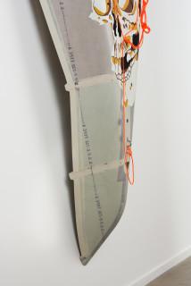 Claire Healy and Sean Cordeiro Gashadokoro (detail), 2020; Kiowa utility helicopter fuselage fairing, acrylic gouache, polyester cord; 180 x 115 x 20 cm; enquire