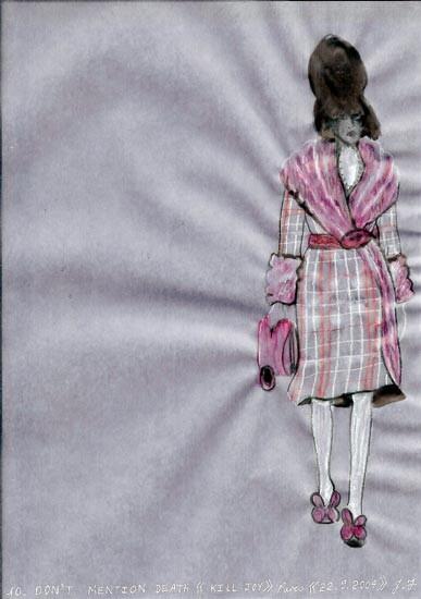 Jacqueline Fraser DON'T MENTION DEATH - Kill Joy, 2004; aquarelle on French calque paper; 30 x 21 cm; enquire