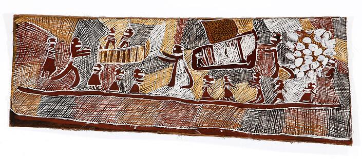 Nyapanyapa Yunupingu Snake Eggs, 2008; natural earth pigments on bark; 49 x 130 cm; enquire